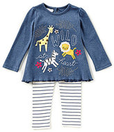 Mud Pie Baby Girls 9-18 Months Wild At Heart Long-Sleeve Tee & Striped Leggings Set