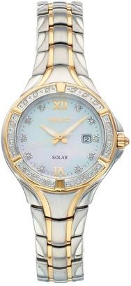 Seiko Women's Solar Diamond Accent Two Tone Watch - SUT372