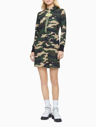 Calvin Klein Camo Print Long Sleeve Hoodie Dress