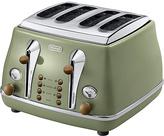 De'Longhi CTOV4003.GR Vintage Icona 4-Slice Toaster - Olive