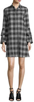 Alice + Olivia Jem Button-Front Long-Sleeve Plaid Shirtdress