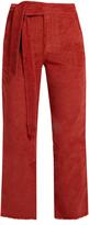 Masscob Frayed-hem cropped corduroy trousers