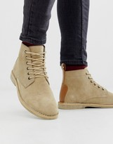 Asos Design DESIGN desert chukka boots in stone suede with leather detail