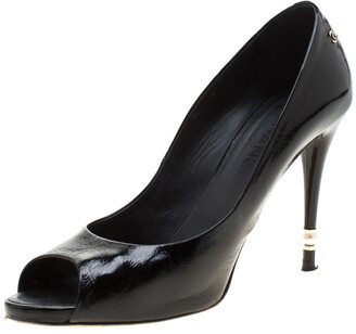 Chanel Black Patent Leather Peep Toe Pumps Size 40.5