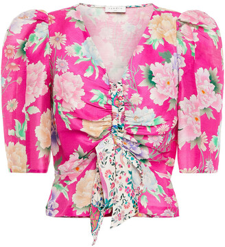Sandro Becky Cropped Floral-print Linen And Silk-blend Shantung Top