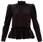 Saloni Mel Ruffled Puff-sleeve Silk Blouse - Womens - Black