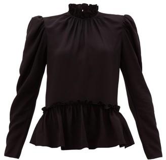 Saloni Mel Ruffled Puff-sleeve Silk Blouse - Black