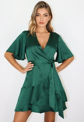 Missguided Green Satin Flutter Sleeve Wrap Dress
