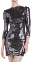 Gunmetal Ali Ro Sequin Scoop-back Dress,
