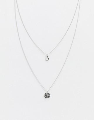 Asos Design DESIGN chakra multirow necklace in silver tone