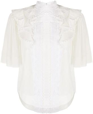 Isabel Marant Ruffled Lace-Detail Blouse