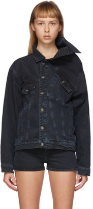 Y/Project Black Denim Asymmetric Collar Jacket
