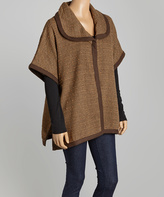 Live A Little Light Brown Tweed Poncho