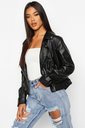 boohoo Faux Leather Zip Biker Jacket
