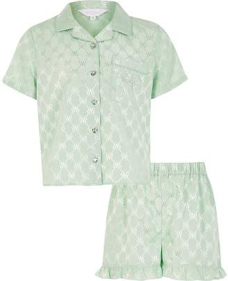 River Island Girls green RI monogram satin pyjamas