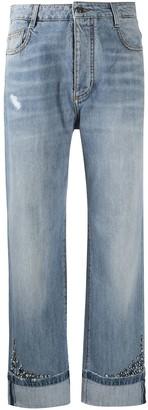 Ermanno Scervino Crystal-Embellished Straight-Leg Jeans