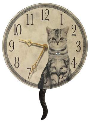 Infinity Instruments Cat Tail Pendulum Wall Clock Cream