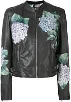 Dolce & Gabbana hydrangea print biker jacket