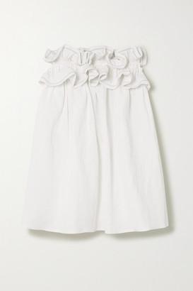 Nackiyé Nackiye - Milk Pudding Strapless Ruffled Cotton, Linen And Silk-blend Mini Dress - White