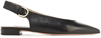 Stuart Weitzman Leather Slingback Point-toe Flats
