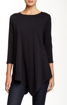Joan Vass 3/4 Sleeve Asymmetric Tunic