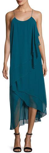 Haute Hippie Asymmetric-Layers Sleeveless Chiffon Midi Cocktail Dress
