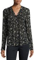 Veronica Beard Vintage Bloom Silk Blouse, Black/Multicolor