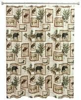 wildlife bear moose deer shower curtain for bathroom horizontal hunting themed pattern wild game
