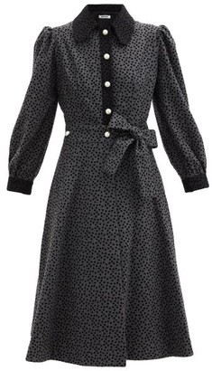 Batsheva Polka-dot Wrap Wool Shirt Dress - Grey