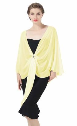 BEAUTELICATE Chiffon Scarf Shawl Warp for Women Bridal Wedding Evening Dress Summer Tops Bridesmaids Party 25 Colors Yellow
