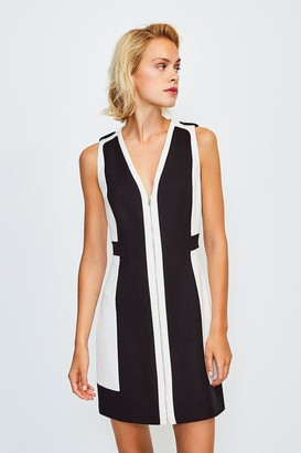Karen Millen Colour Block Zip Front A-Line Dress