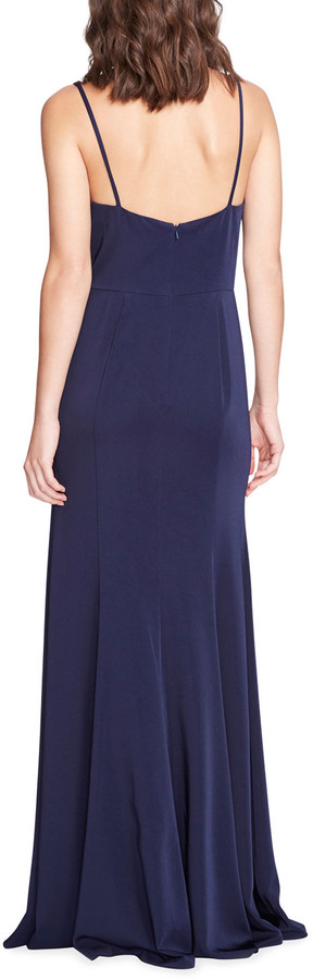 Thumbnail for your product : Marchesa Notte Bridesmaid Stretch Satin Crepe V-Neck Gown