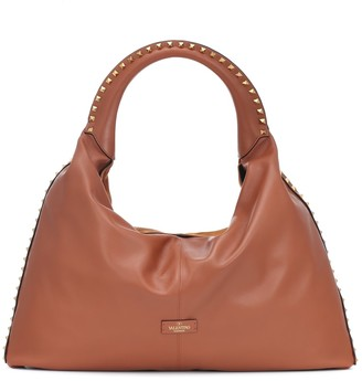 Valentino Rockstud Large leather and suede tote