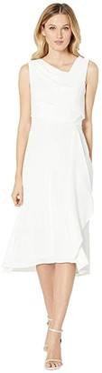 Adrianna Papell Soft Draped A-Line Dress (Ivory) Women's Dress