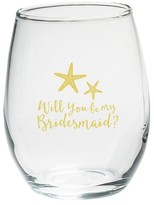 Kate Aspen Set of 4) Will You Be My Bridesmaid Beach Tides 15 Oz. Stemless Wine Glass