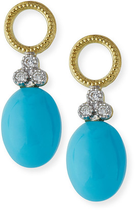 Jude Frances Provence Turquoise Cabochon Briolette Earring Charms with Diamonds