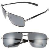 Men's Polaroid Eyewear 64Mm Polarized Aviator Sunglasses - Dark Ruthenium