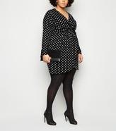 New Look Mela Curves Polka Dot Wrap Dress