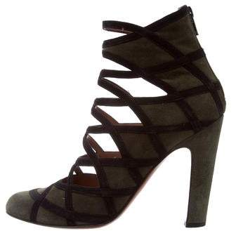 Alaia Cutout Suede Booties