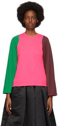 Comme des Garcons Pink Colorblock Long Sleeve T-Shirt