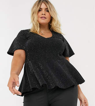 New Look Plus Curve v neck peplum tee in black