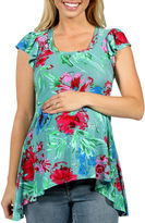 24/7 Comfort Apparel Tropical Paradise Tunic Top Plus Maternity
