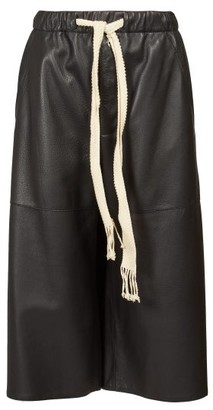 Loewe Drawstring Leather Culottes - Womens - Black