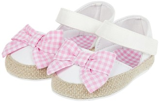 Monsoon Baby Gingham Bow Espadrille Bootie Shoes - Ivory