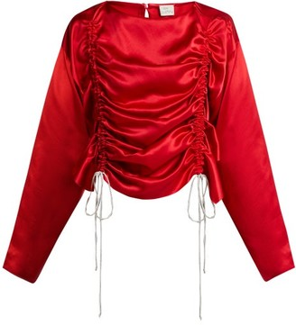 Hillier Bartley Ruched Silk-satin Blouse - Red