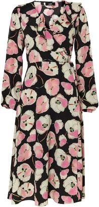 Wallis **TALL Black Floral Print Midi Dress