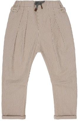 BRUNELLO CUCINELLI KIDS Stretch-cotton seersucker pants