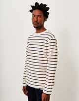 Armor Lux Striped Towelling Sweater Off White & Blue