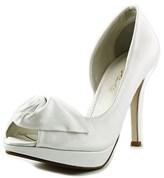 Caparros Baldwin Women Open Toe Canvas White Platform Heel.