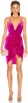 Alexandre Vauthier for FWRD Sleeveless Ruched Velvet Mini Dress in Fuchsia | FWRD